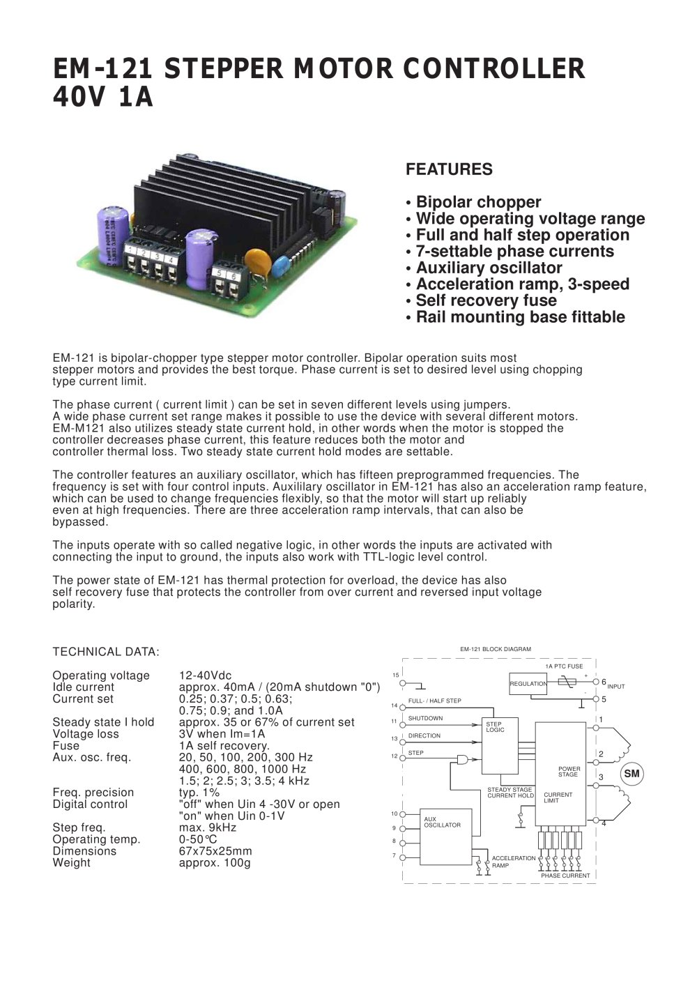 Em 121stepper Motor Controller Electromen Pdf Catalogue The Schematic For A 3axis Stepper Based On 1 2 Pages