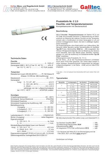 Sensor für Feuchte und Temperatur - Galltec Mess- und Regeltechnik ...