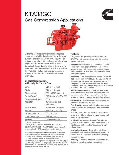 KTA38GC Gas Compression Applications Spec Sheet - Cummins Inc  - PDF