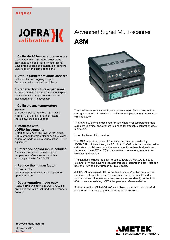 ASM Series - Signal Multi-scanner - AMETEK Sensors, Test ...