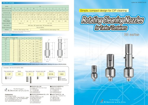 Rotating Cleaning Nozzles for Tanks/Containers (ES series)