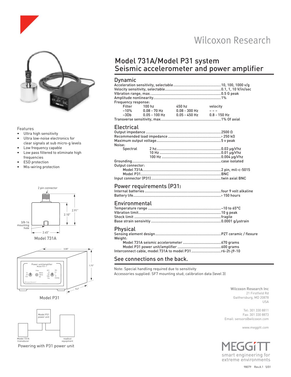 731a P31 Seismic Accelerometer System Wilcoxon Sensing Wiring Diagram To Eliminate Battery Save 1 2 Pages
