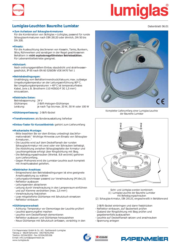 Lumiglas-Leuchte Lumistar - Papenmeier - Lumiglas Division - PDF ...