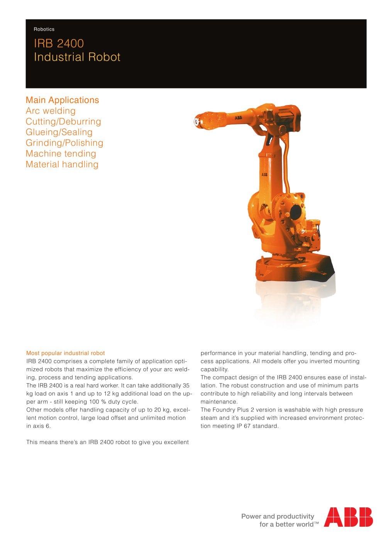 Irb 2400 Industrial Robot Abb Robotics Pdf Catalogs Technical