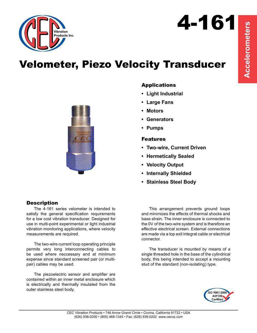 Velometer Piezo Velocity Transducer