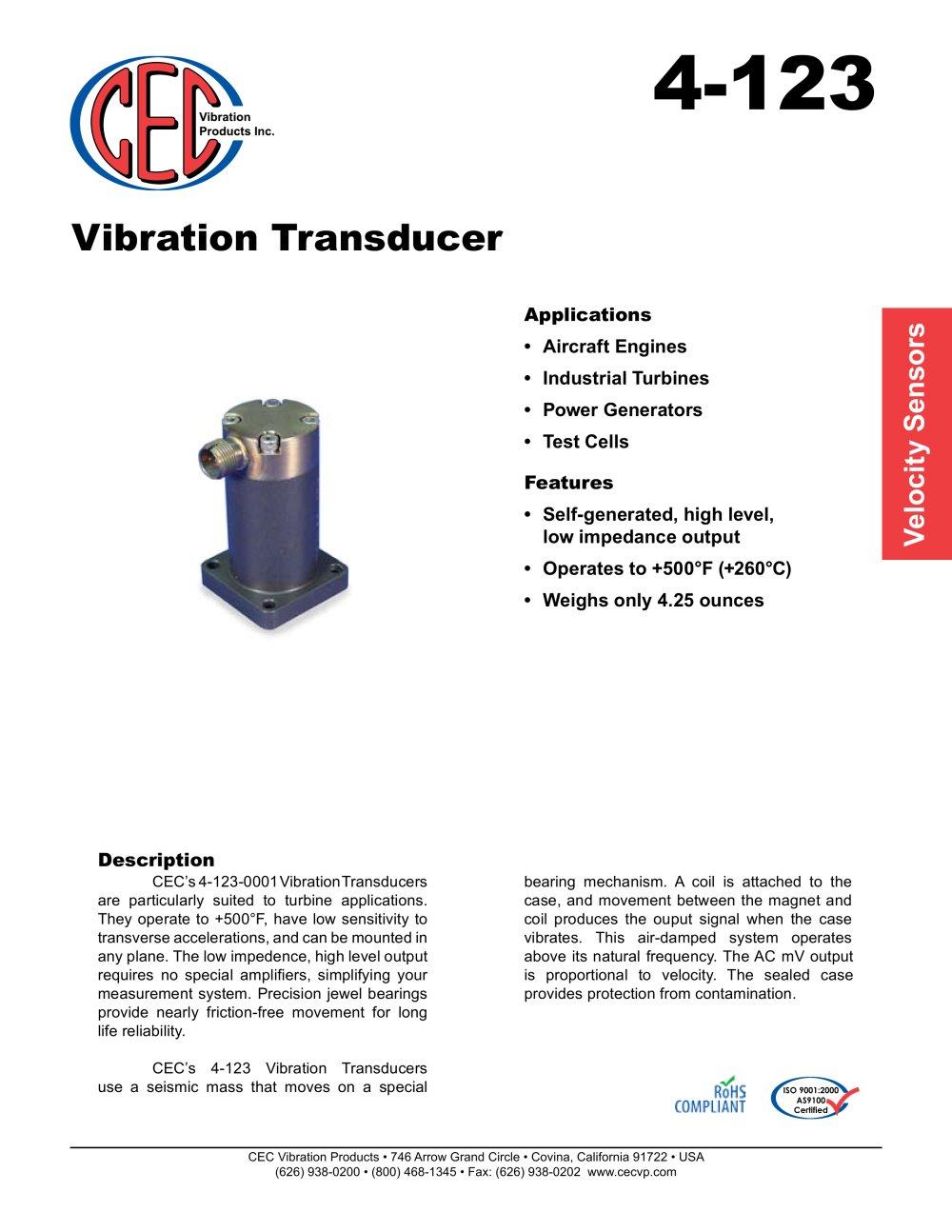 Vibration Transducer 4 123 Cec Products Pdf Catalogue Seismic Sensor 1 2 Pages