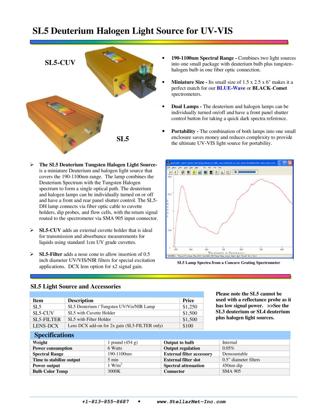 StellarNet   Inc.com SL5 Lamp Spectra From A Concave Grating Spectrometer  SL5 Deuterium Halogen Light Source For UV   VIS   1 / 1 Pages