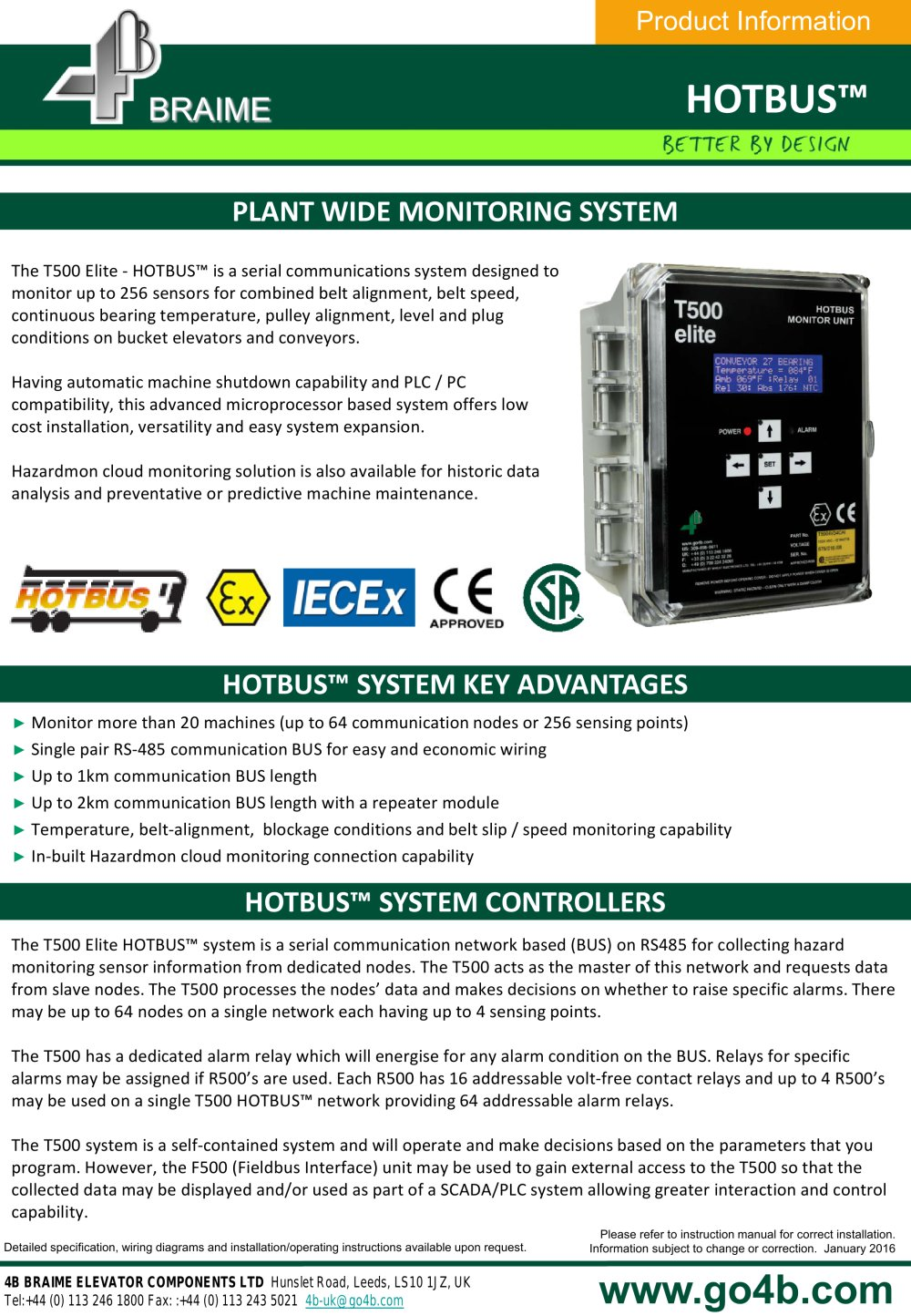 4B HotBus - Serial Network Bucket Elevator & Conveyor Monitoring - 1 / 5  Pages