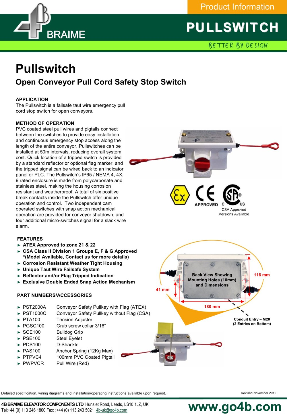 b pullswitch conveyor safety stop switch b braime components 4b pullswitch conveyor safety stop switch 1 2 pages
