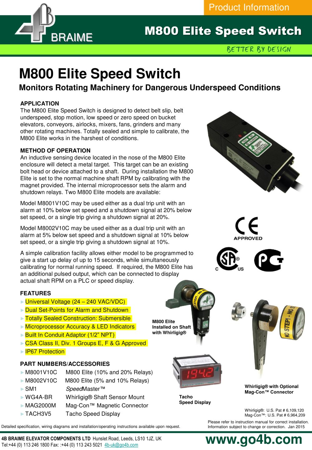 M800 Speedswitch - underspeed motion monitor - 1 / 2 Pages