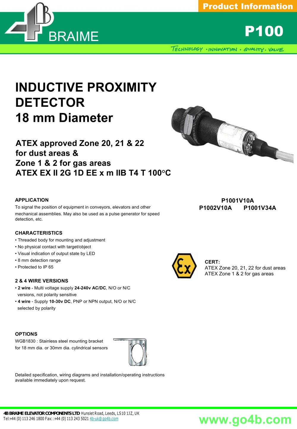 P100 - Inductive Proximity Sensor 18mm - 1 / 2 Pages