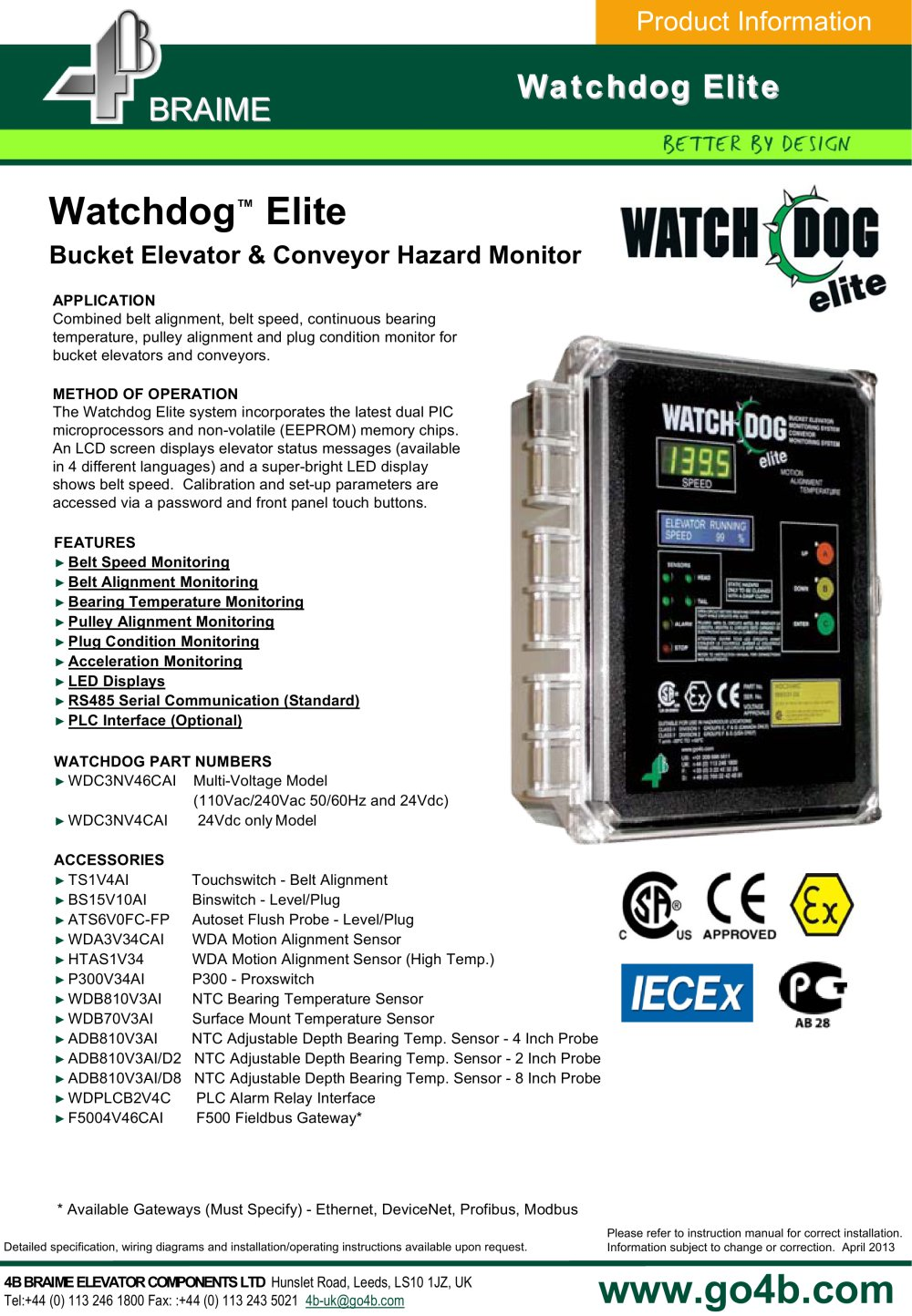 Watchdog elite bucket elevator monitor 4b braime components watchdog elite bucket elevator monitor 1 5 pages cheapraybanclubmaster Images