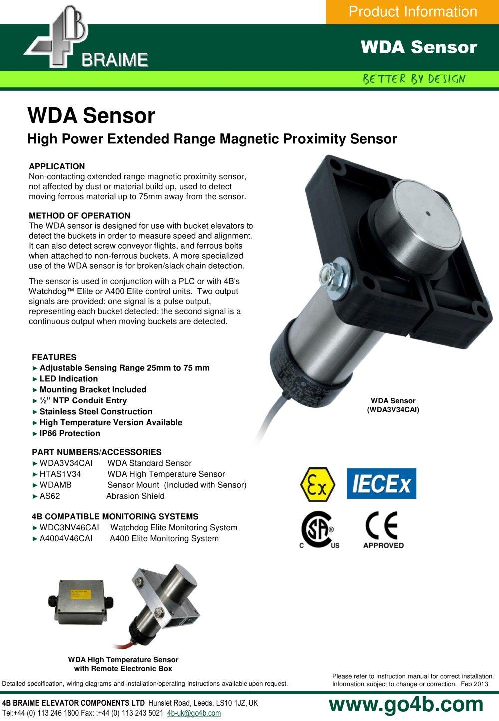 Wda3 New Alignment Sensor For Bucket Elevators 4b Braime Wiring Diagram 1 2 Pages