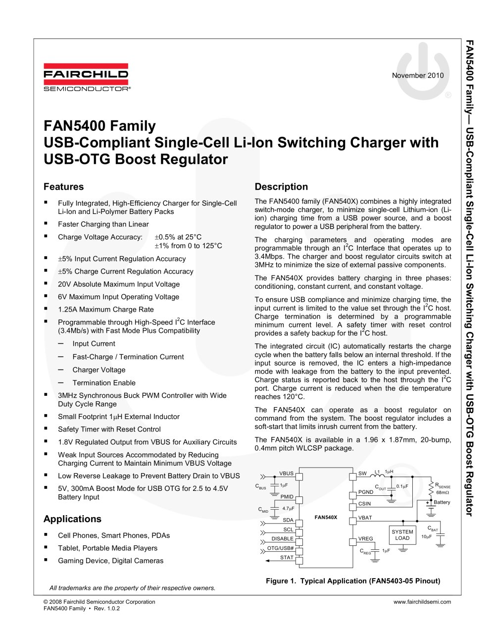 Fan5403 Usb Compliant Single Cell Li Ion Switching Charger With Regulator Current Booster Otg Boost 1 5 Pages