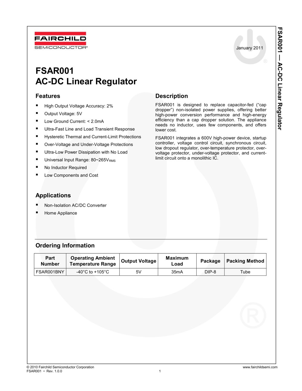 Fsar001b Ac Dc Linear Regulator Fairchild Semiconductor Pdf 5v Power Supply With Overvoltage Protection 1 12 Pages