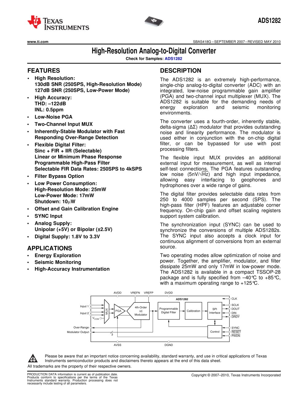 High Resolution Adc Rev G Texas Instruments Semiconductor Pdf Octal Speed A D Converters 1 54 Pages
