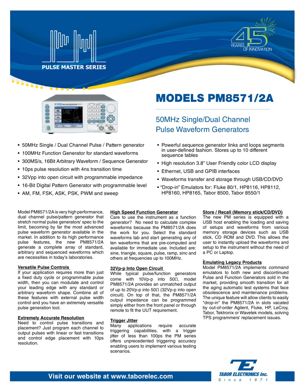 Models Pm8571 2a 50mhz Single Dual Channel Pulse Waveform Generators Generating Circuit 1 6 Pages