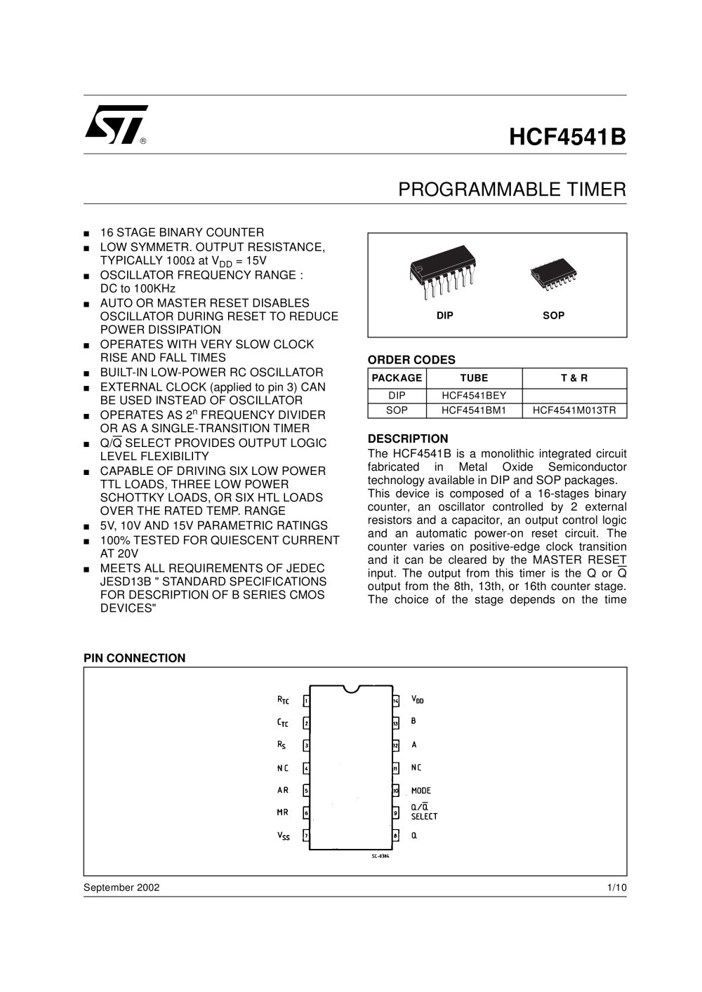 Hcf4541 Programmable Timer Stmicroelectronics Pdf Catalogs Amplifier Auto Off Circuit 1 10 Pages