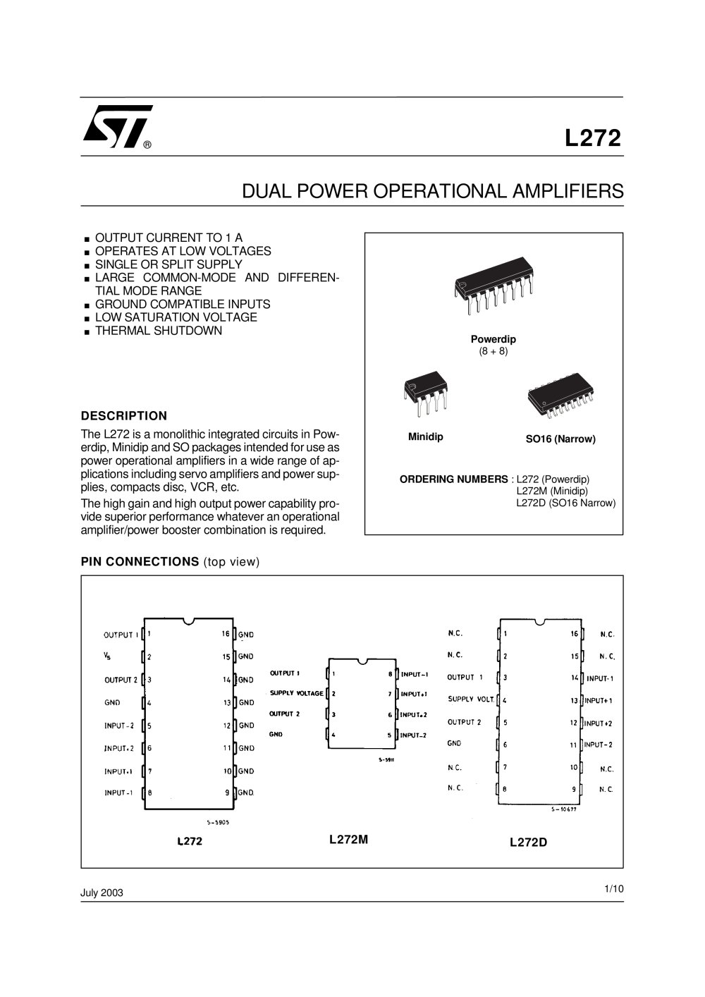 L272 Dual Power Operational Amplifier Stmicroelectronics Pdf Highcurrentamplifierwithrailtorailoutput Amplifiercircuit 1 10 Pages