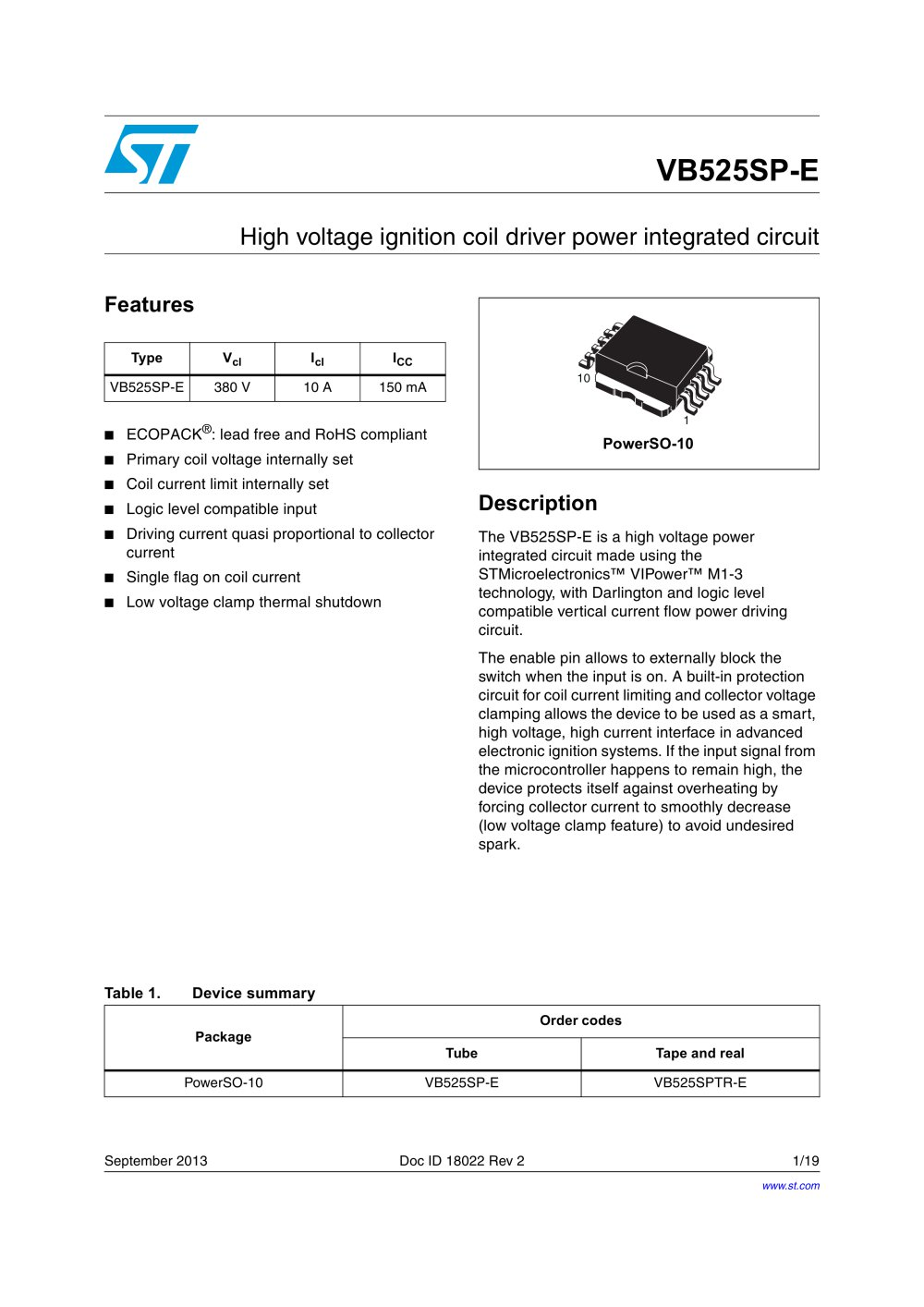 VB525SP-EHigh voltage ignition coil driver power integrated circuit - 1 /  19 Pages