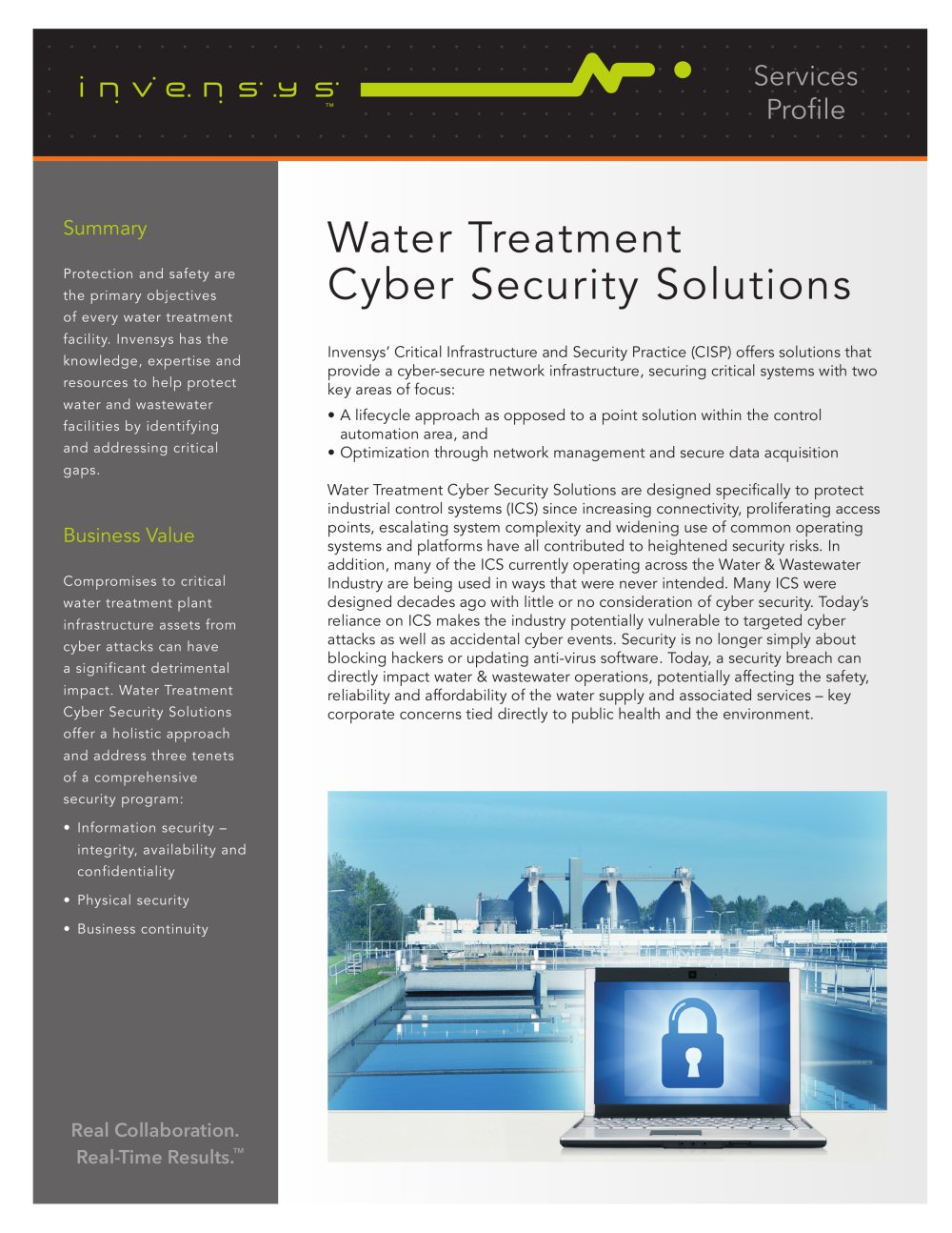 Water Treatment Cyber Security Solutions Wonderware Pdf Data Lifecycle 1 2 Pages