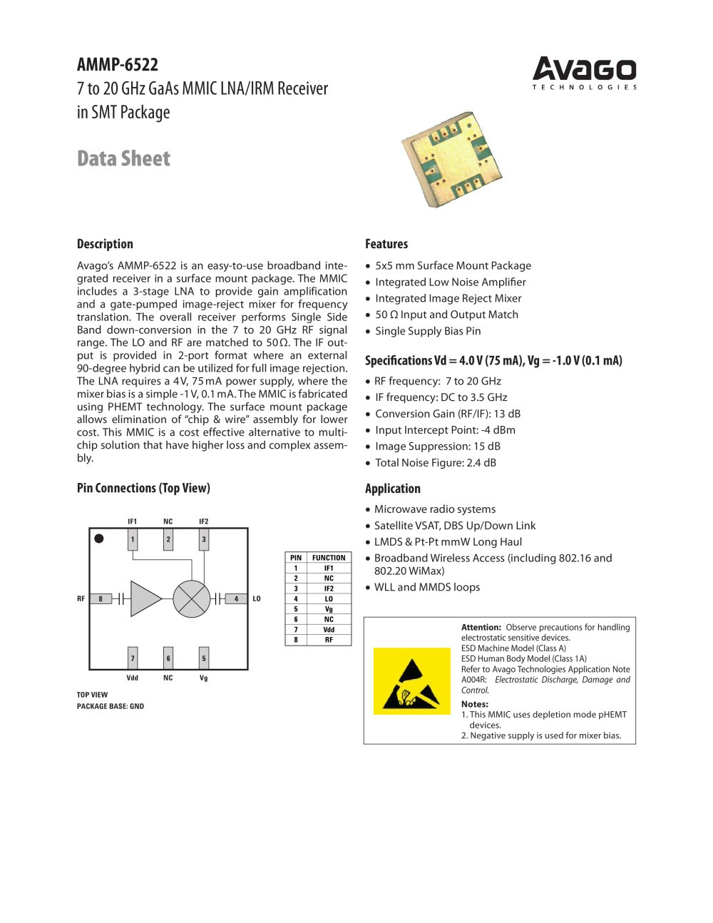 7 To 20 Ghz Gaas Mmic Lna Irm Receiver 1 9 Pages