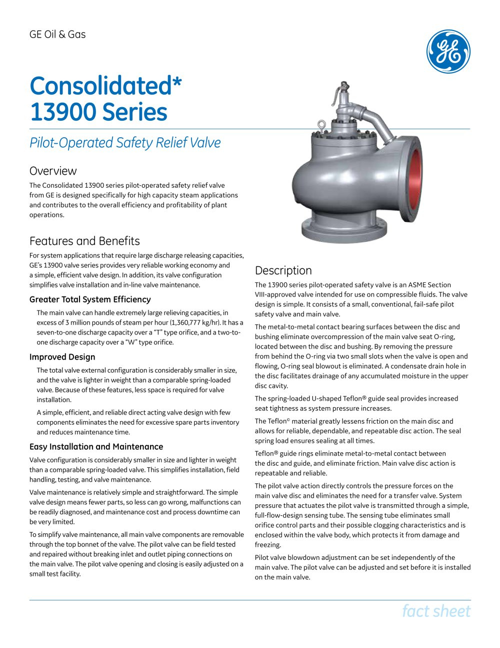 Consolidated Type 13900 Series Pilot Operated Safety Relief Valve 1 2 Pages