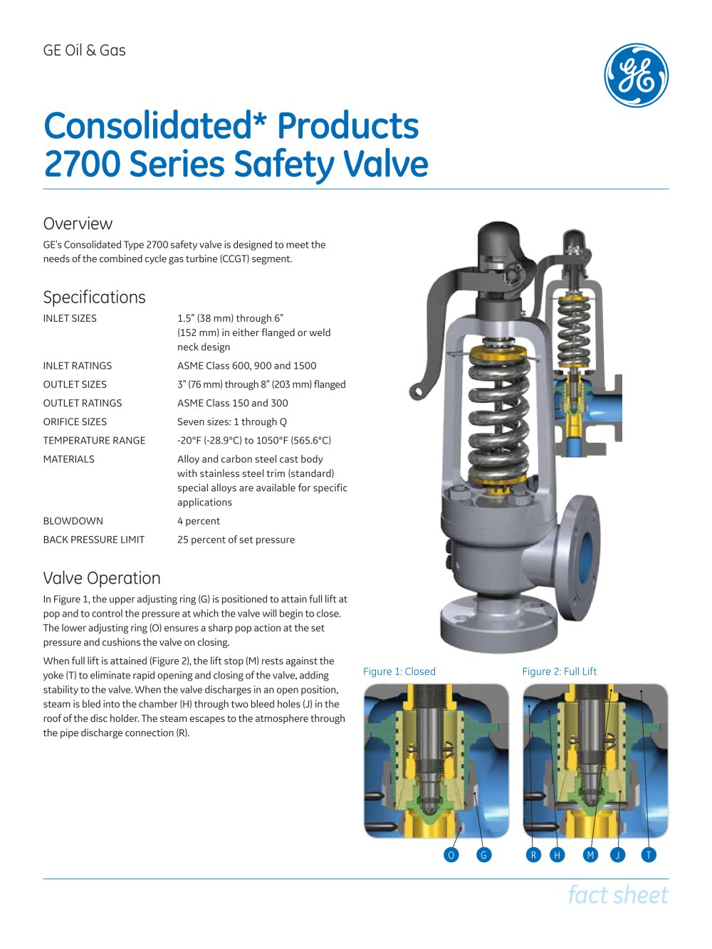 Consolidated Type 2700 Safety Valve Ge Gas Turbines Pdf Dresser Srvs