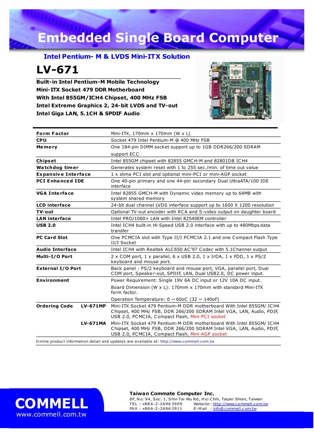 LV-671 - LV-671NSMA, LV-671NSMP Pentium M/Celeron M SBC - 1 / 1 Pages