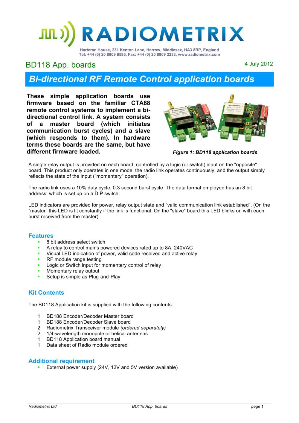 Bd118 Radiometrix Pdf Catalogue Technical Documentation Brochure Momentary Relay Switch 12v 1 5 Pages