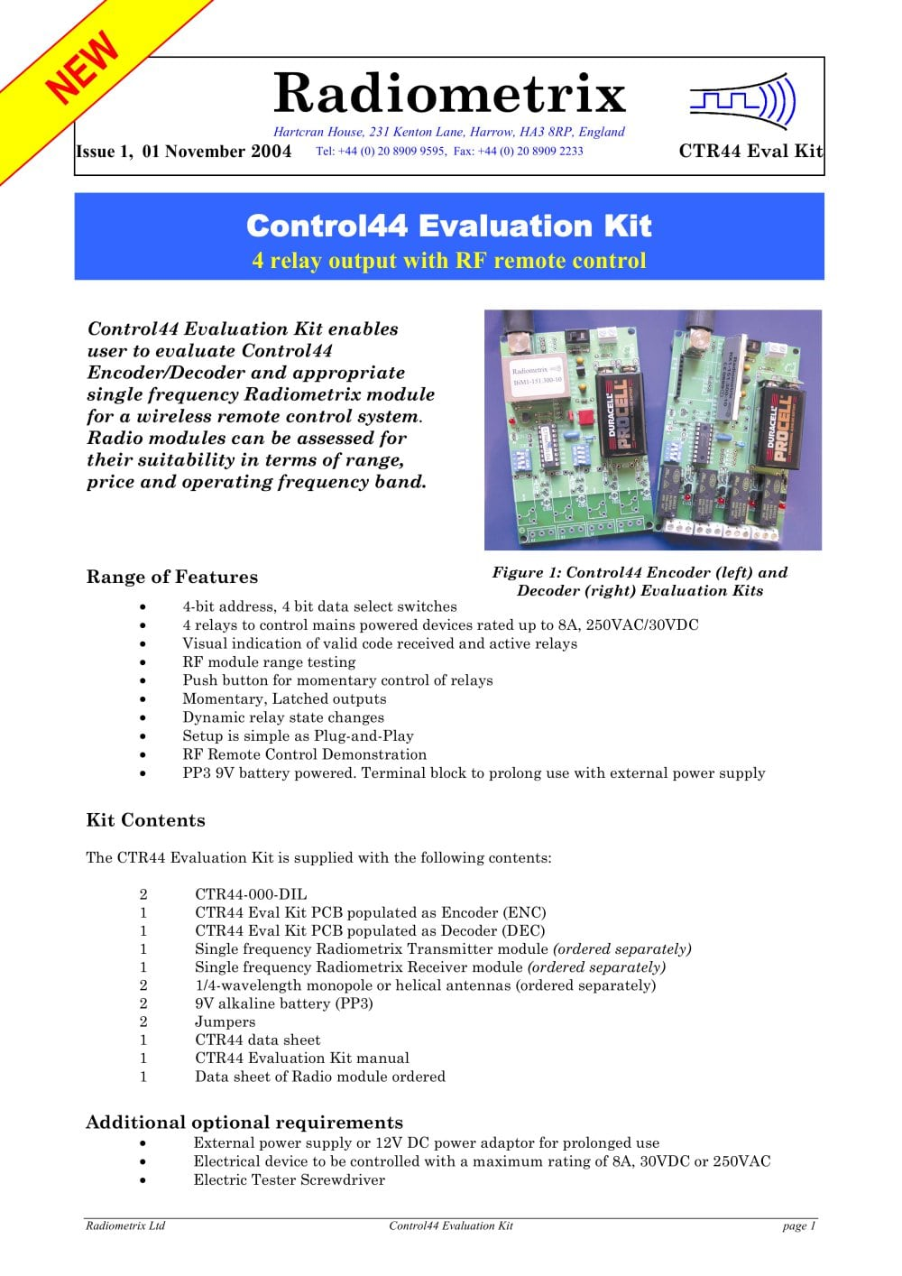 Control44 Evaluation Kit Radiometrix Pdf Catalogs Technical Electrical Relay Testing 1 7 Pages