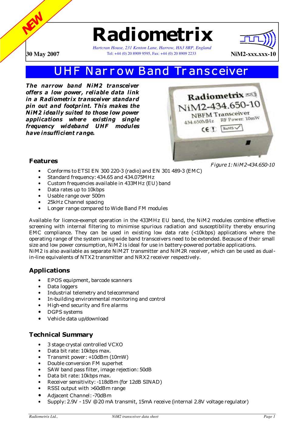 Nim2 Radiometrix Pdf Catalogue Technical Documentation Brochure Crystalcontrolledfm 1 11 Pages