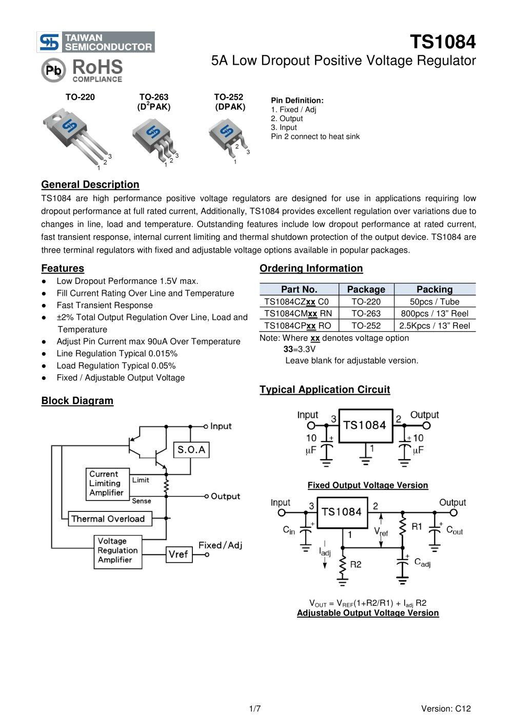 Ts1084cm Power Management Ics Linear Voltage Regulator Low Dropout Discrete 1 7 Pages