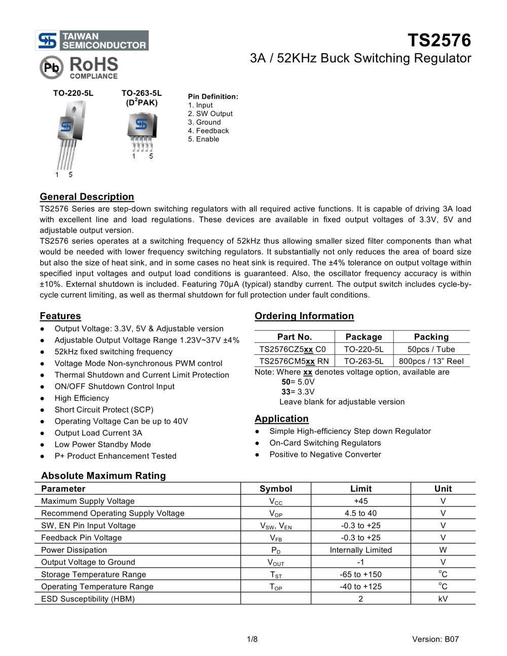 Ts2576 3a 52khz Buck Switching Regulator Taiwan Semiconductor Power Supply With Current Limiter And Stand Alone 1 8 Pages