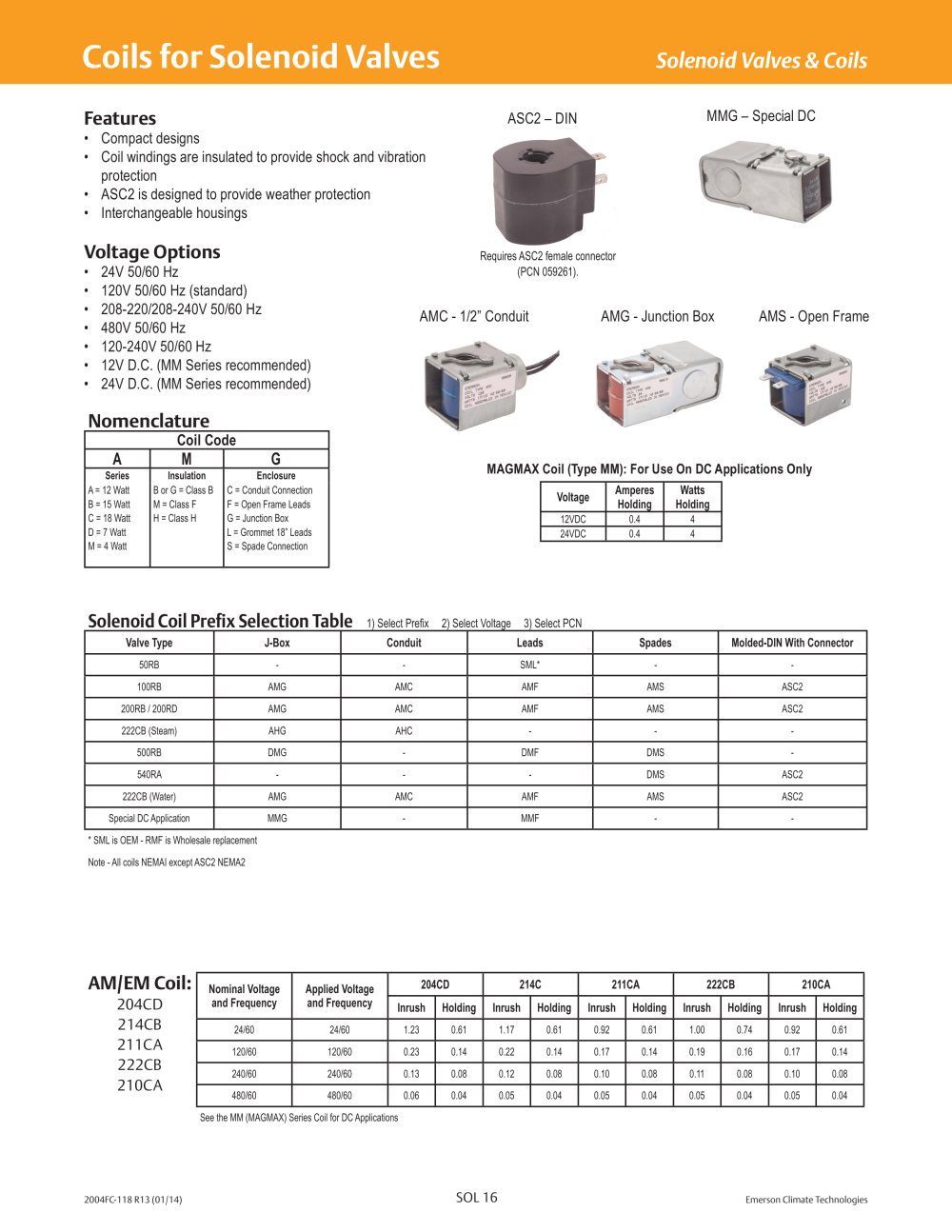 coils for solenoid valves emerson commercial residential coils for solenoid valves 1 4 pages