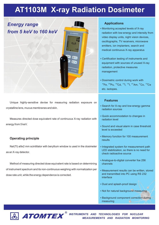 At1103m X Ray Radiation Dosimeter Atomtex Pdf Catalogue