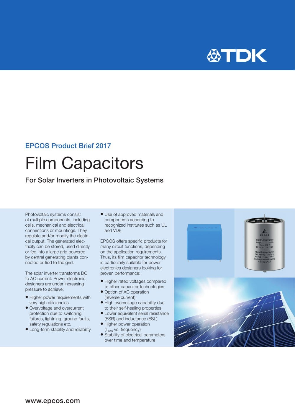 Film Capacitors For Solar Inverters In Photovoltaic Systems Tdk Electrical Circuit Capacitor 2 1 Pages