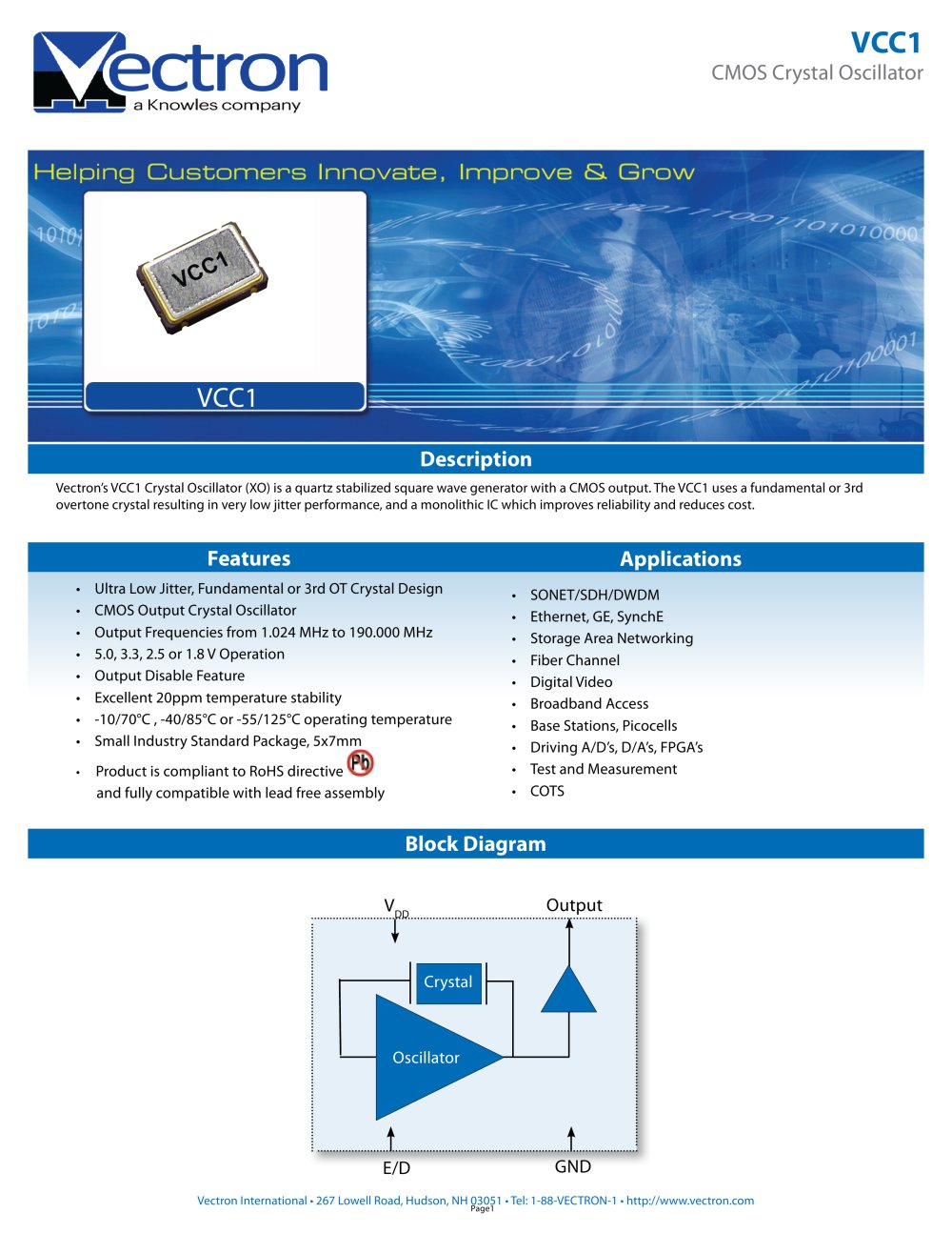 Vcc1 Crystal Oscillator Xo Vectron International Pdf Catalogue Circuit 1 10 Pages
