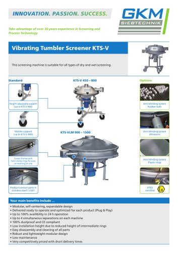 Vibrating Tumbler Screener KTS-V - GKM Siebtechnik - PDF Catalogs
