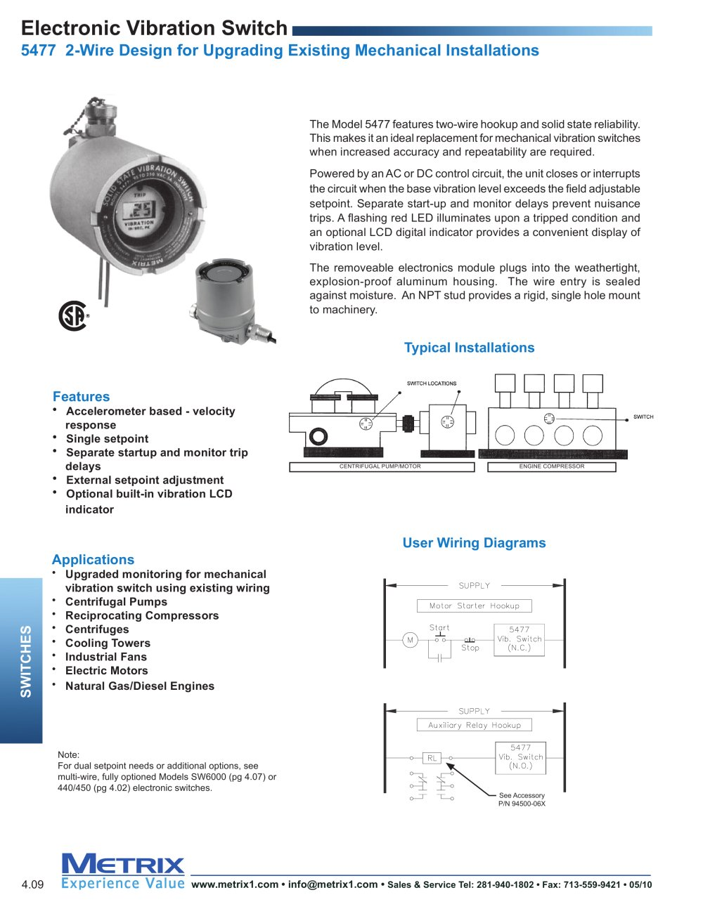 5477b Electronic Vibration Switch Metrix Instrument Co Pdf Centrifugal Pump Wiring Diagram 1 2 Pages