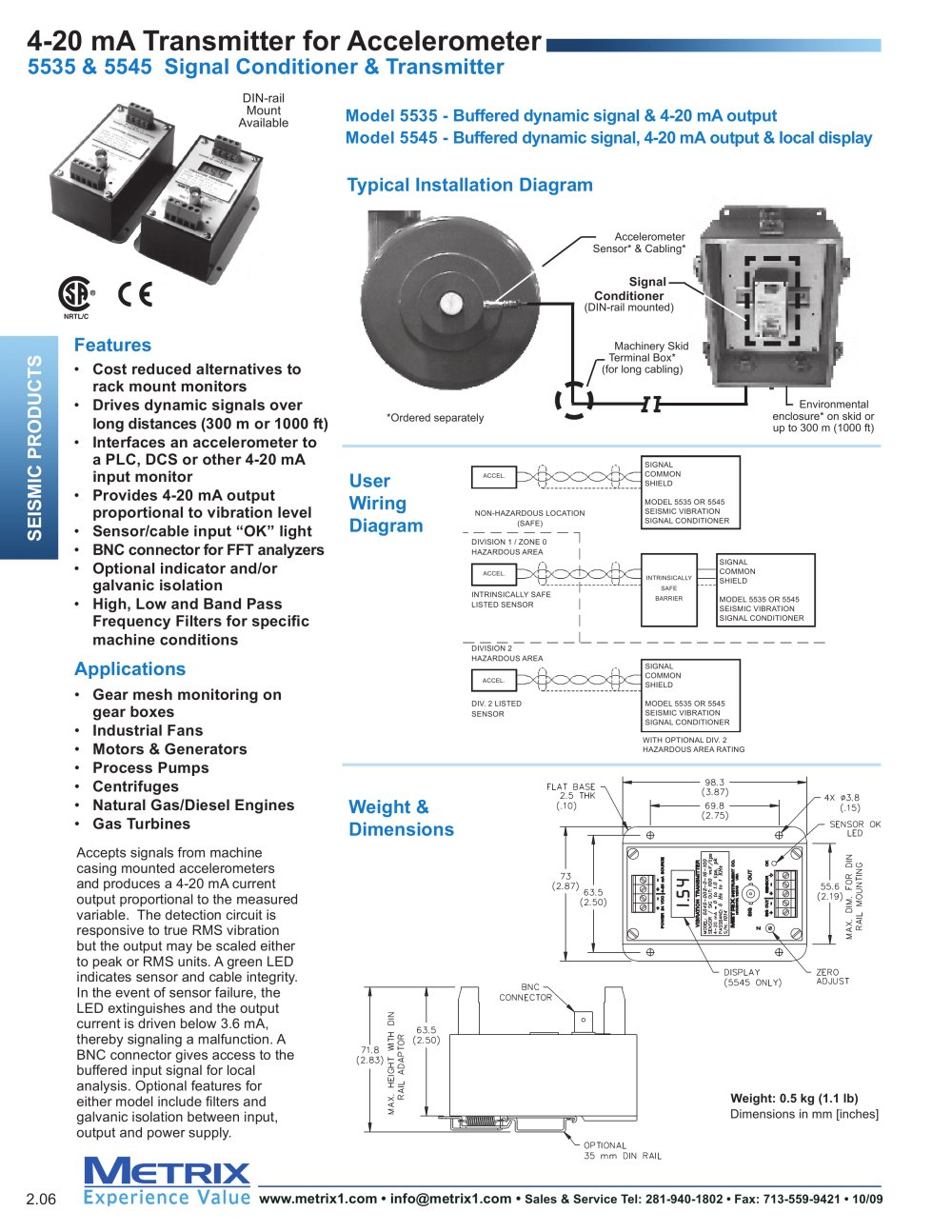 5535 5545 Signal Conditioners Metrix Instrument Co Pdf Catalogs Accelerometer Wiring Diagram 1 2 Pages