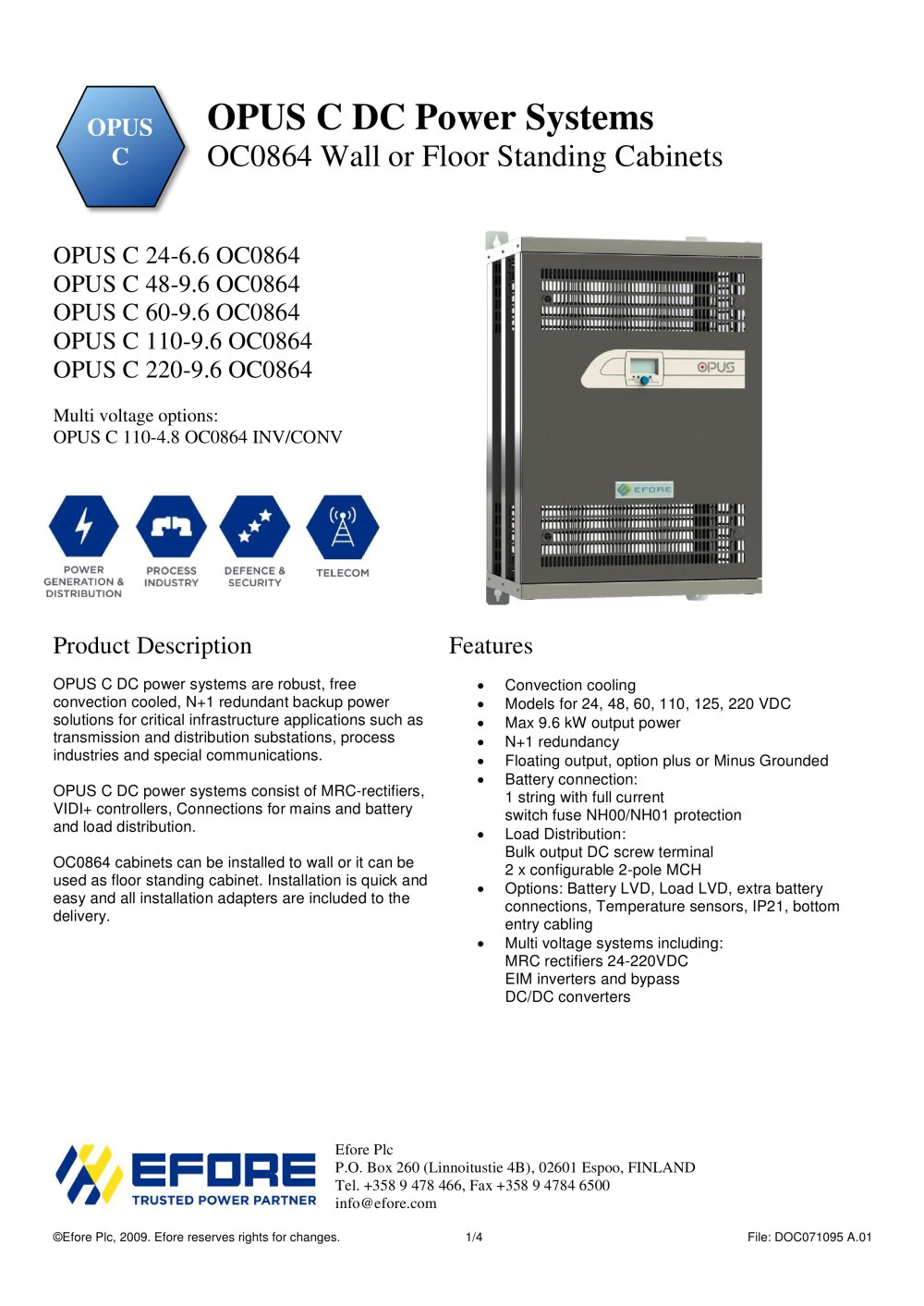 OPUS C DC Power Systems OC0864 Wall Or Floor Standing Cabinets   1 / 4 Pages