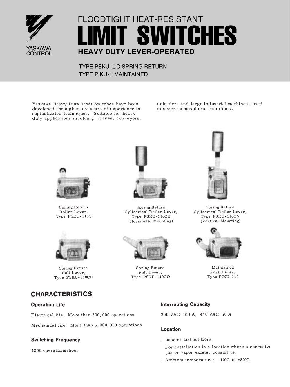 Yaskawa Heavy Duty Limit Switches - Yaskawa Controls - PDF Catalogue ...