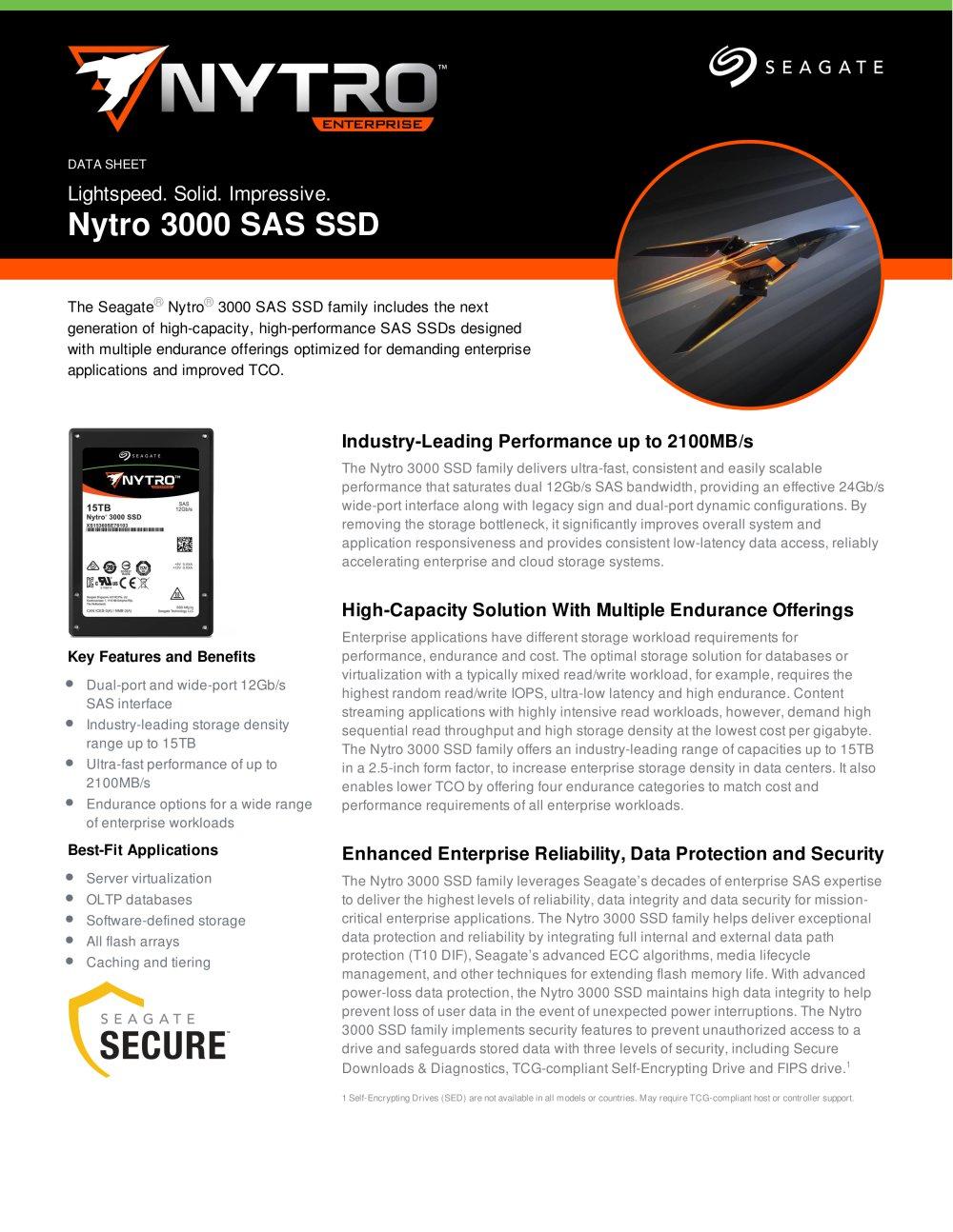 Nytro 3000 Sas Ssd Seagate Pdf Catalogue Technical Sata Controller With Encryption 1 6 Pages