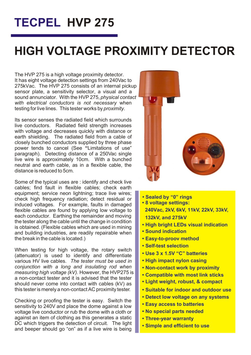 TECPEL High Voltage Proximity Detector HVP-275 - Tecpel Co., Ltd ...