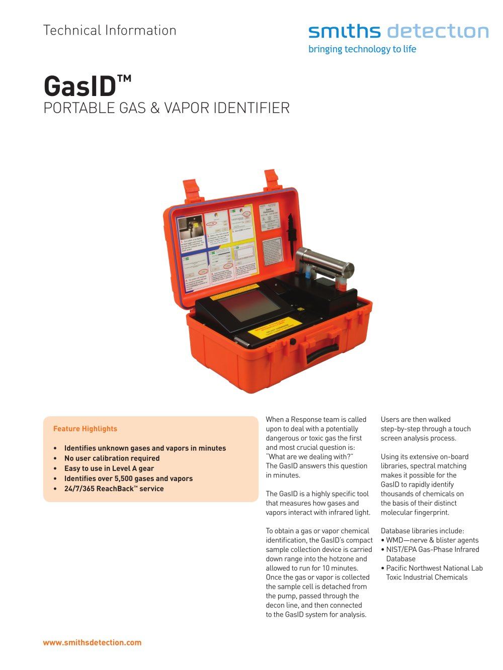 GasID PORTABLE GAS & VAPOR IDENTIFIER - 1 / 2 Pages