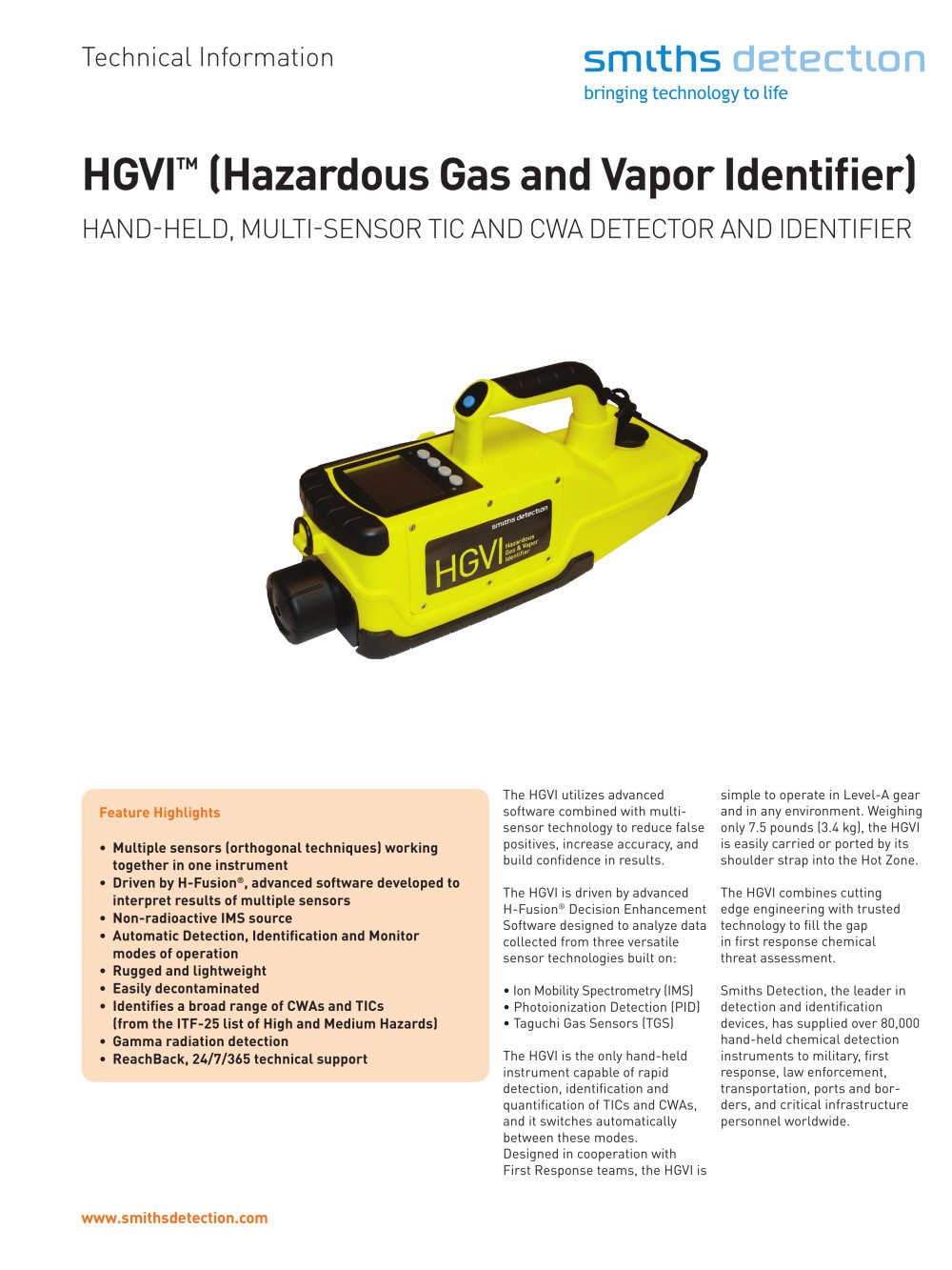 HGVI Hand-held, Multi-Sensor Gas & Vapor Identifier for TICs and CWAs - 1 /  2 Pages