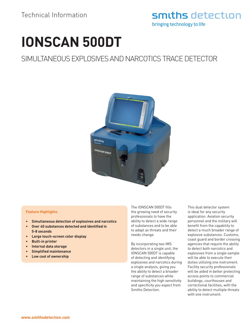 ionscan 500dt simultaneous explosives and narcotics trace detector rh pdf directindustry com smiths ionscan 500dt manual Ions Can