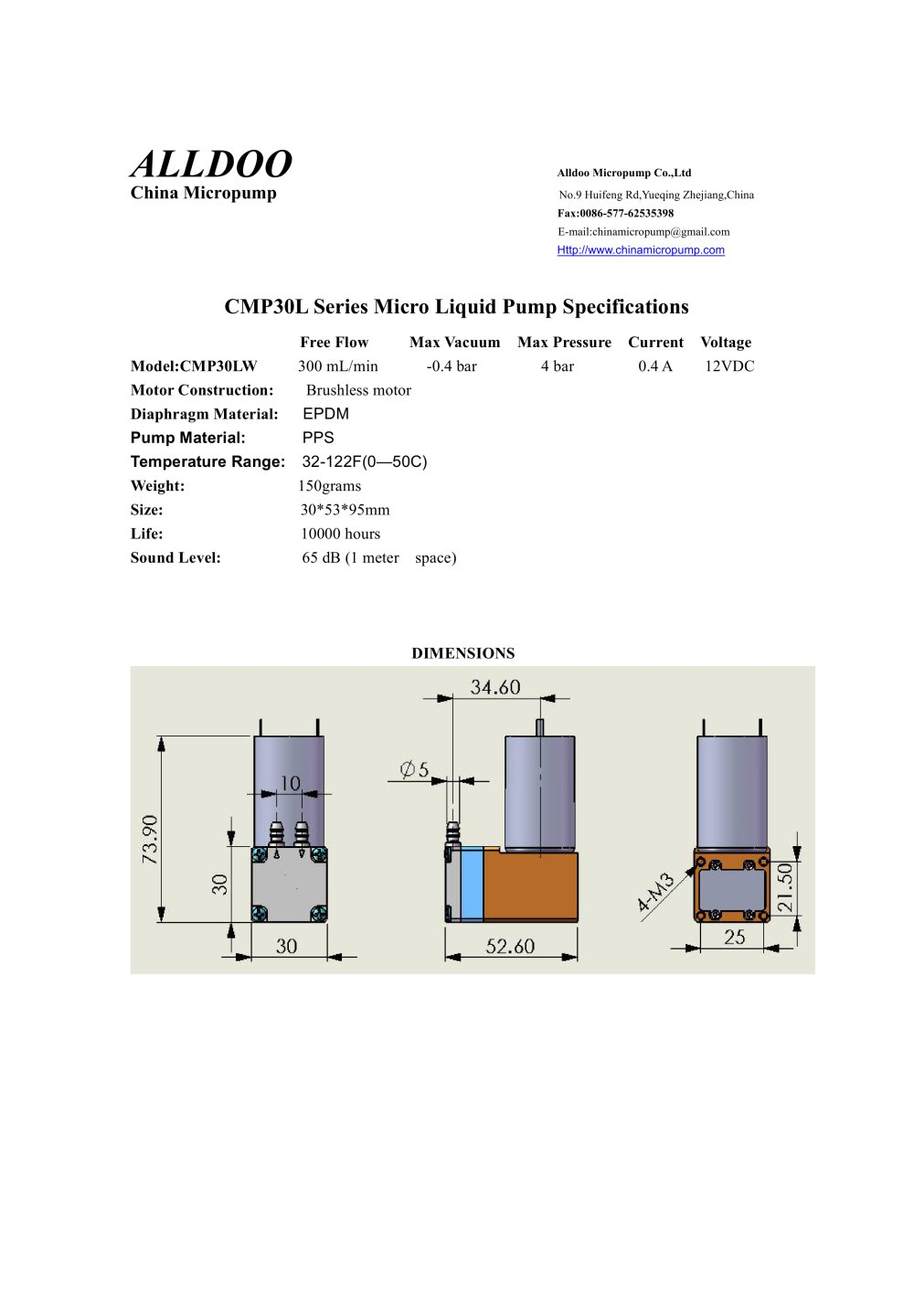 Longlife Brushless Dc Motor Liquid Water Micro Pumps Alldoo Diagram 1 Pages