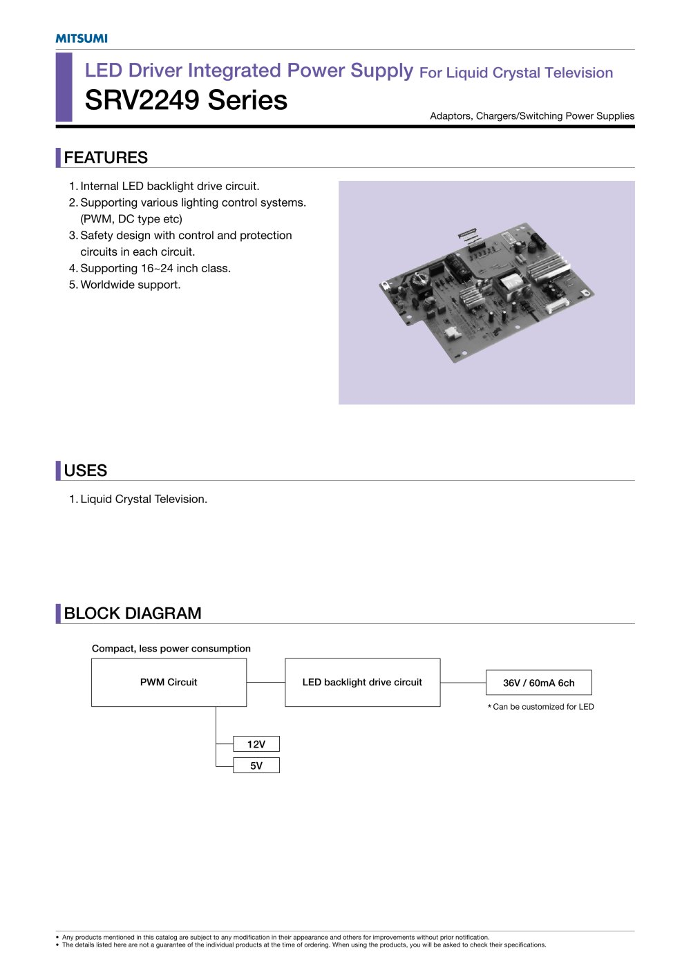 Srv2249 Series Internal Power Supply For Liquid Crystal Television Led Circuit 1 2 Pages